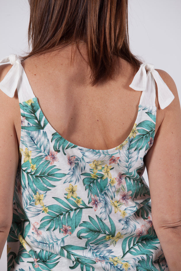 Top tirantes de mujer con estampado tropical Dress Division espalda