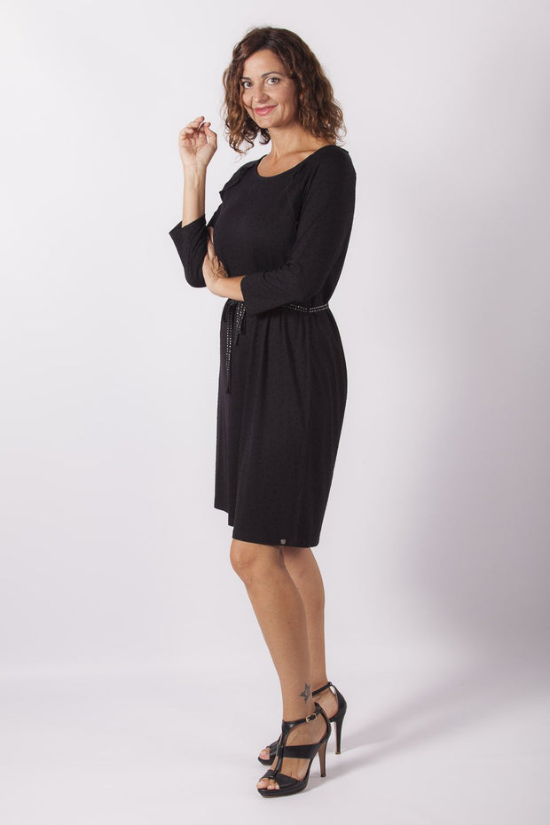 vestido negro plumeti dress division lateral