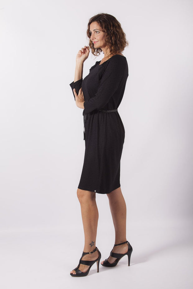 vestido negro plumeti dress division entera lateral