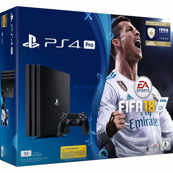 Play Station 4 PRO + FIFA18 + PSN + 14 Days Sony 224338 1 TB Black