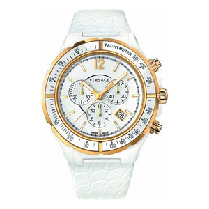 Versace- White Leather Ladies Watch 44mm