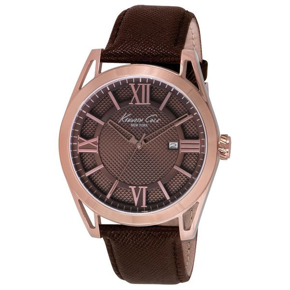 Kenneth Cole Leather Brown Men's Watch 44mm