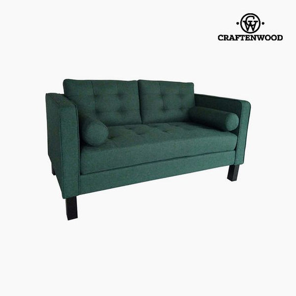 2-Seater Sofa Pine Polyester Green (149 x 81 x 81 cm) by Craftenwood