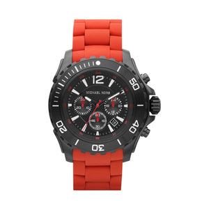 Michael Kors- Chronograph Red Silicone Wrapped Men's Watch 48mm