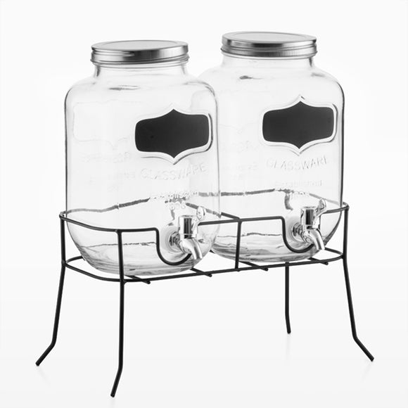 Wagon Trend 1898 Drinks Dispensers with Vintage Stand (set of 3)