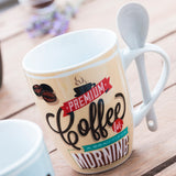Retro Coffee Cups with Teaspoons (pack of 4)