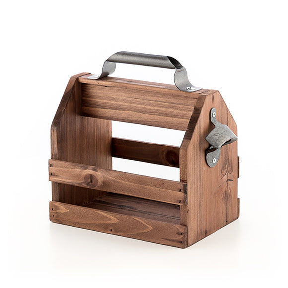 Wooden Bottle Rack with Retro Opener