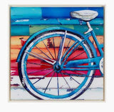 Vibrant Bicycle Wheel and Saddle Acrylic Painting
