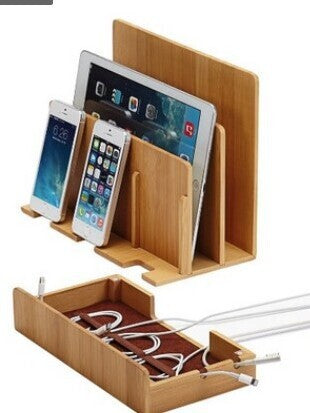 Multi- Functional Bamboo Wood Charging Station