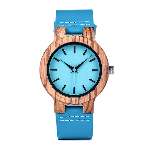 Light Blue Leather Wood Watch