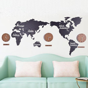 Wooden Large World Clock Map