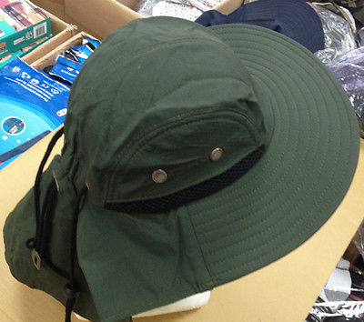 6727428acd5 Neck Flap Boonie Hat Fishing Hiking Safari Outdoor Sun Brim Bucket Bush Cap  MEN - Badger