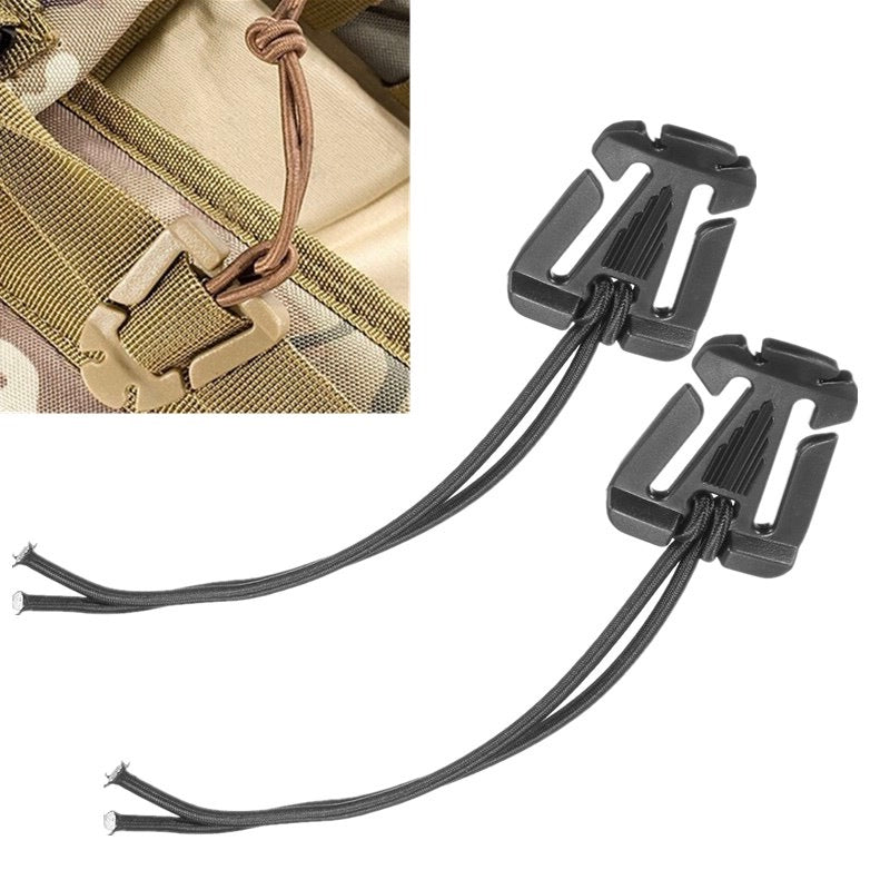 10Pcs Military Molle Bungee Elastic Cord Tie-down Strap Hang Roll Clip Buckle