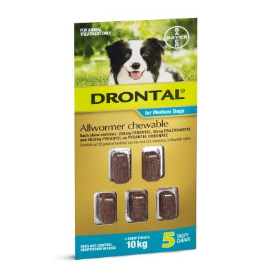 DRONTAL ALLWORMER FOR DOGS CHEW 10KG 5PK