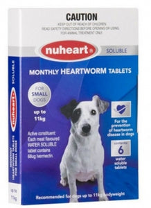 NUHEART HEARTWORM TABS UP TO 11KG