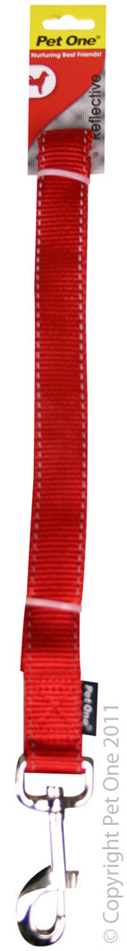 PET ONE LEASH NYLON 120CM 25MM RED