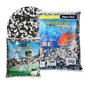 AQUA ONE DECORATIVE GRAVEL 2KG MIXED WHITE BLACK 2MM