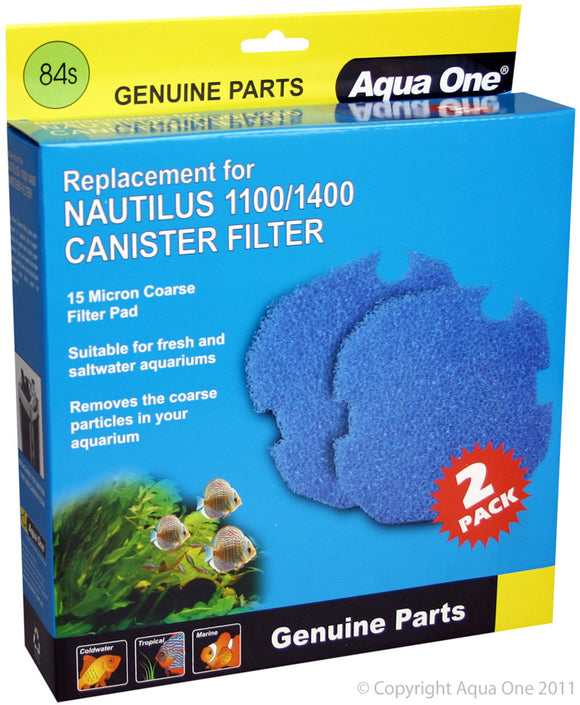 AQUA ONE SPONGE 15PPI 2PK 84S SUITS NAUTILUS 1100/1400