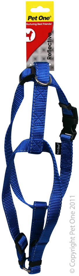 PET ONE 40-65CM HARNESS ADJ 25MM BLUE