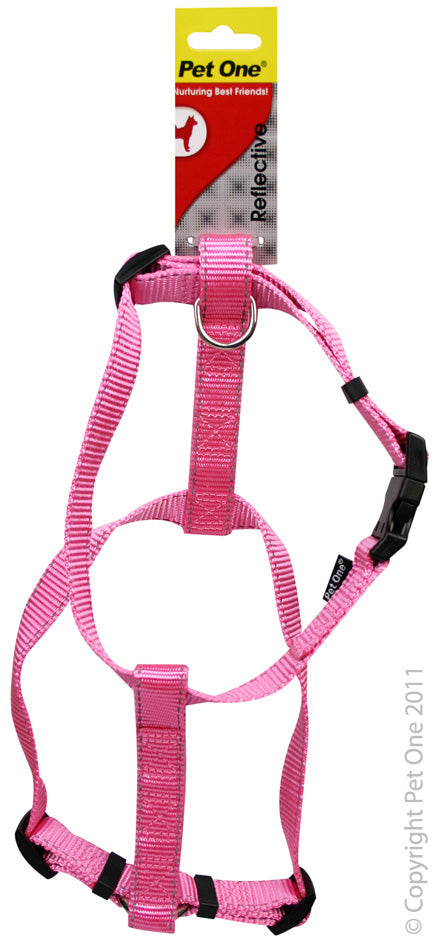 PET ONE 40-65CM HARNESS ADJ 25MM PINK