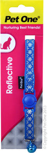 PET ONE CAT COLLAR REFLECTIVE BLUE