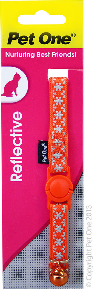 PET ONE CAT COLLAR REFLECTIVE ORANGE