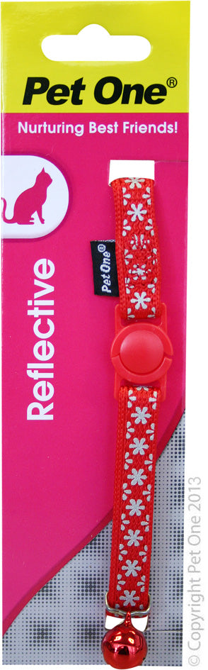 PET ONE CAT COLLAR REFLECTIVE RED