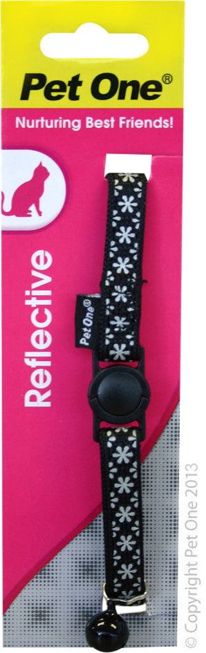 PET ONE CAT COLLAR REFLECTIVE BLACK
