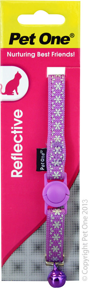 PET ONE CAT COLLAR REFLECTIVE PURPLE