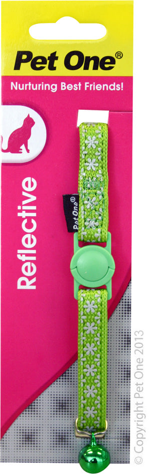PET ONE CAT COLLAR REFLECTIVE GREEN