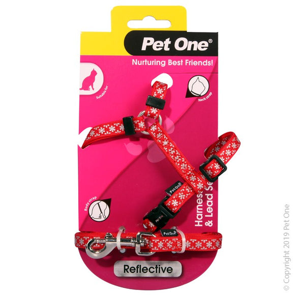 PET ONE CAT HARNESS & LEAD RED