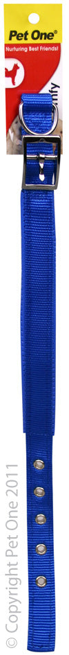 PET ONE 37-47CM COLLAR NYLON 20MM BLUE