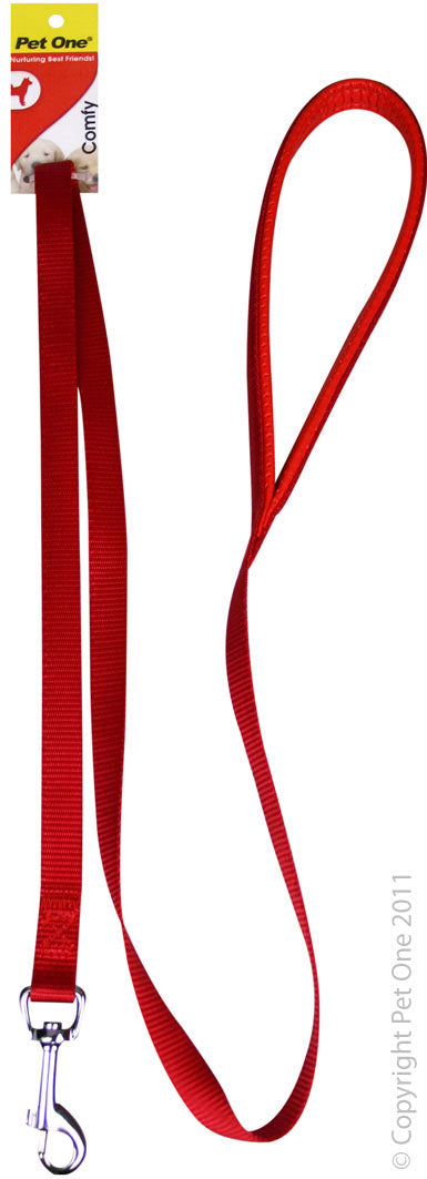 PET ONE 122CM LEASH NYLON PADDED 25MM RED