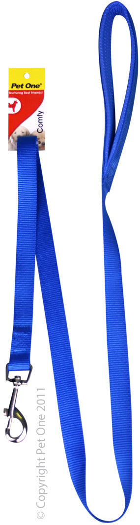 PET ONE 122CM LEASH NYLON PADDED 25MM BLUE