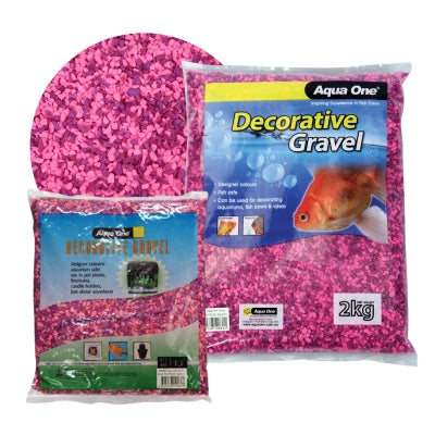 AQUA ONE DECORATIVE GRAVEL 2KG MIXED PINK PURPLE