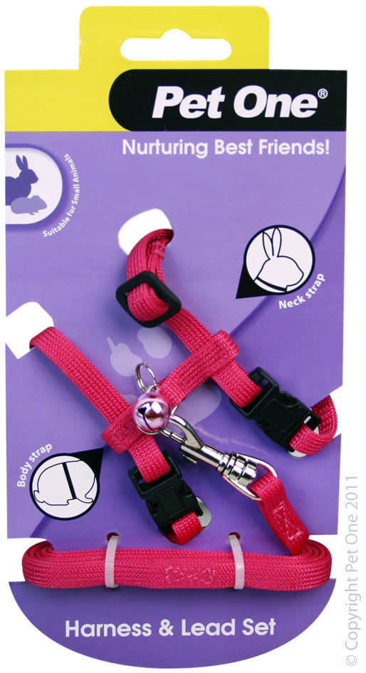 PET ONE PINK LEASH & HARNESS RABBIT/ GPIG/FERRET PINK