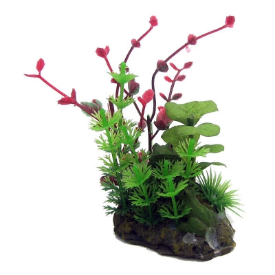 AQUA ONE ORNAMENT BETTA GREEN RED PLANT ON ROCK 10CM