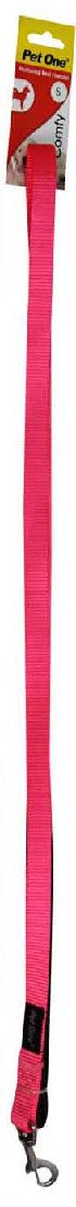 PET ONE 122CM LEASH NYLON PADDED 15MM PINK