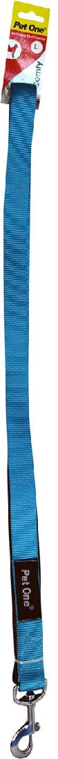 PET ONE 122CM LEASH NYLON PADDED 25MM AQUA