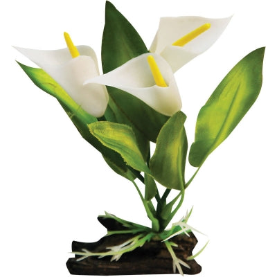 PLASTIC PLANT CALLA LILY W LOG BASE SMALL