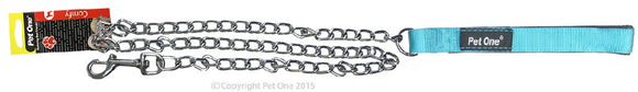 PET ONE 120CM LEASH CHAIN PADDED 3.5MM AQU
