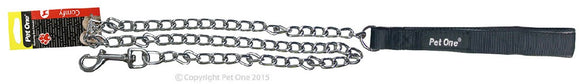 PET ONE 120CM LEASH CHAIN PADDED 3.5MM BLACK
