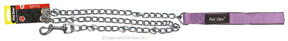 PET ONE 120CM LEASH CHAIN PADDED 3.5MM PURPLE