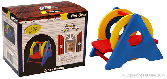 PET ONE MOUSE PLAYHOUSE CRAZY SWING WOOD