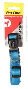 PET ONE COLLAR NYLON REFLECTIVE 24 TO 37CM AQUA