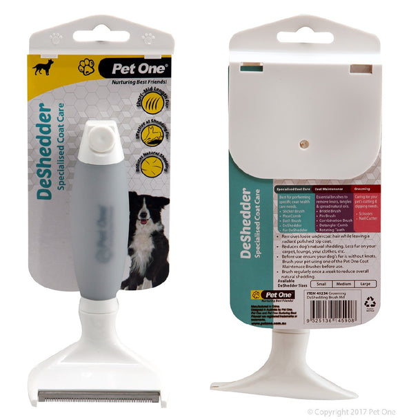 PET ONE GROOMING DESHEDDER BRUSH MED