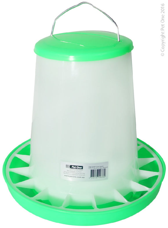 PET ONE POULTRY GRAVITY FEEDER 5.5KG 30.5CM DIA x28.5CM H