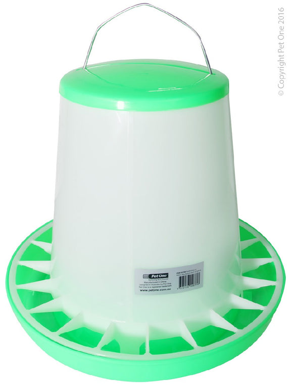 PET ONE POULTRY GRAVITY FEEDER 8KG 36.5CM DIA x 33.5CM H