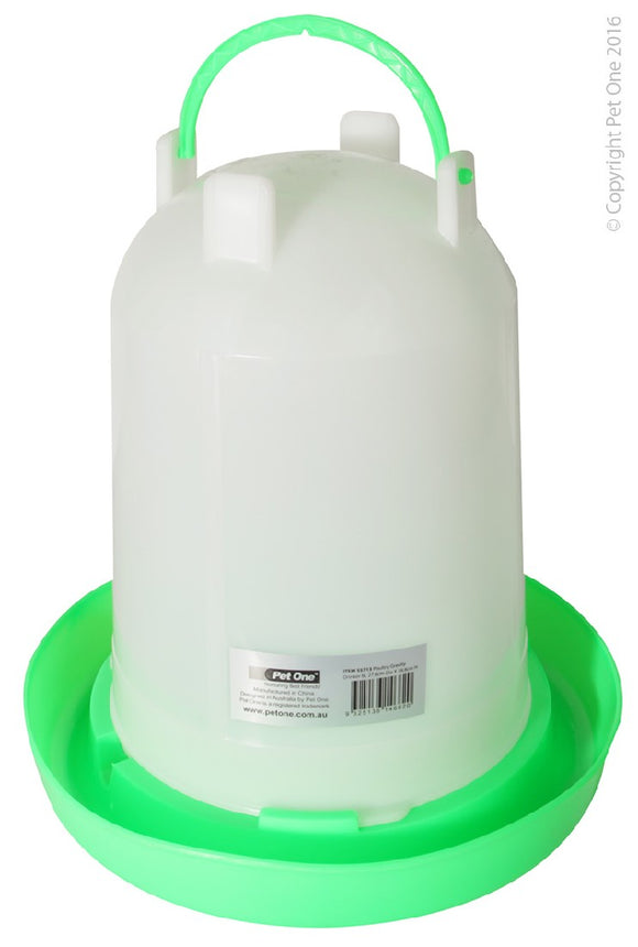 PET ONE POULTRY GRAVITY DRINKER 6L 27.6CM DIA x 28.8CM H