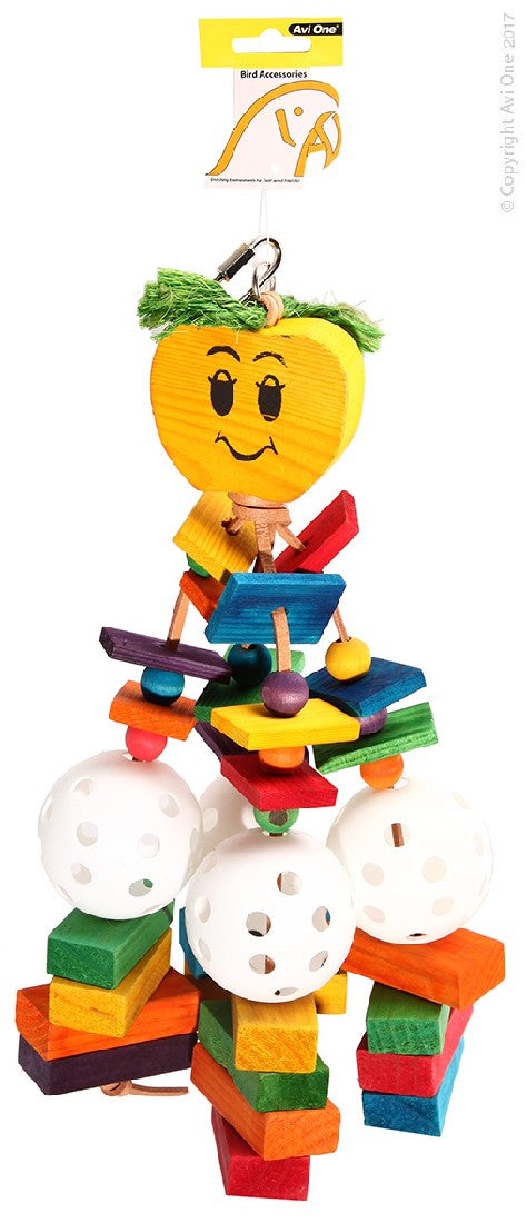 AVI ONE PARROT TOY WOODEN APPLE WITH BLOCKS & PLASTIC BALL